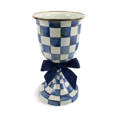 Royal Check Enamel Pedestal Vase