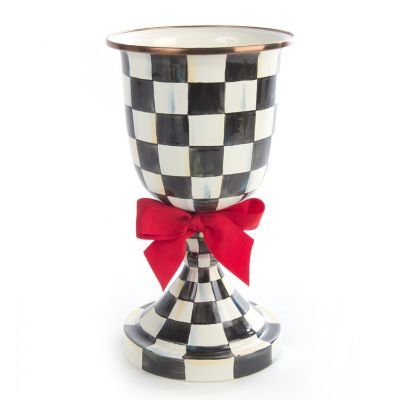 Image for Courtly Check Enamel Pedestal Vase - Red Bow