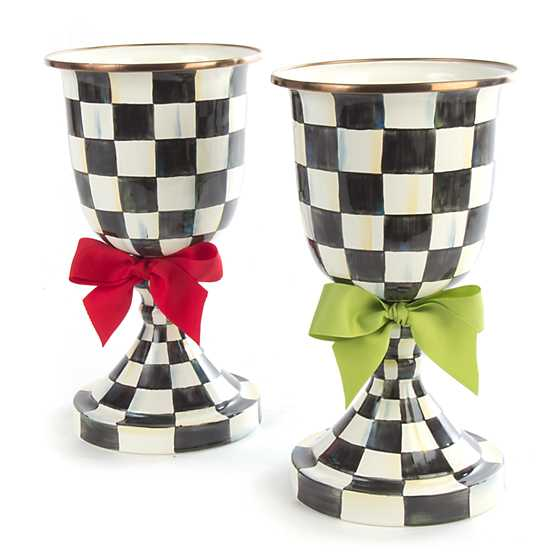 Courtly Check Enamel Pedestal Vase - Green Bow image three