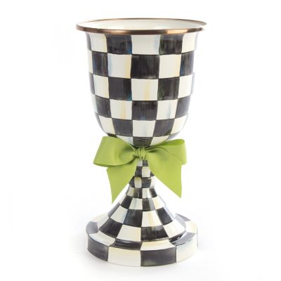 Image for Courtly Check Enamel Pedestal Vase - Green Bow