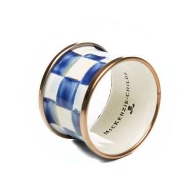 Royal Check Enamel Napkin Rings - Set of 4