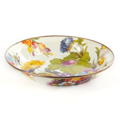 Flower Market Pie Plate - White