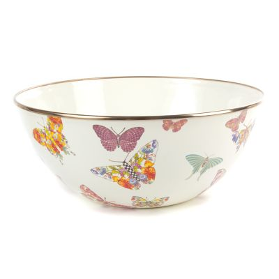 Butterfly Garden Large Everyday Bowl - White