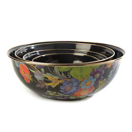Flower Market Large Everyday Bowl - Black image three
