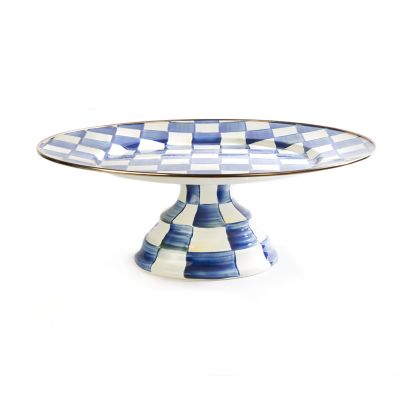 Royal Check Enamel Pedestal Platter - Large