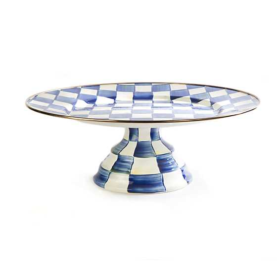 Royal Check Pedestal Platter - Large image one