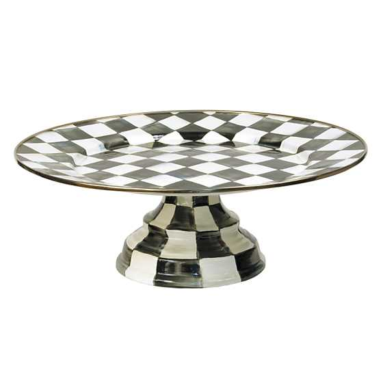 Courtly Check Enamel Pedestal Platter - Large