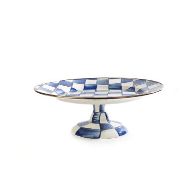 Royal Check Enamel Pedestal Platter - Small