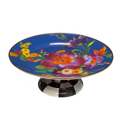 Image for Flower Market Small Pedestal Platter - Lapis
