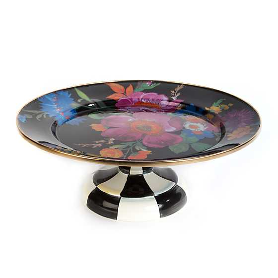 Flower Market Small Pedestal Platter - Black