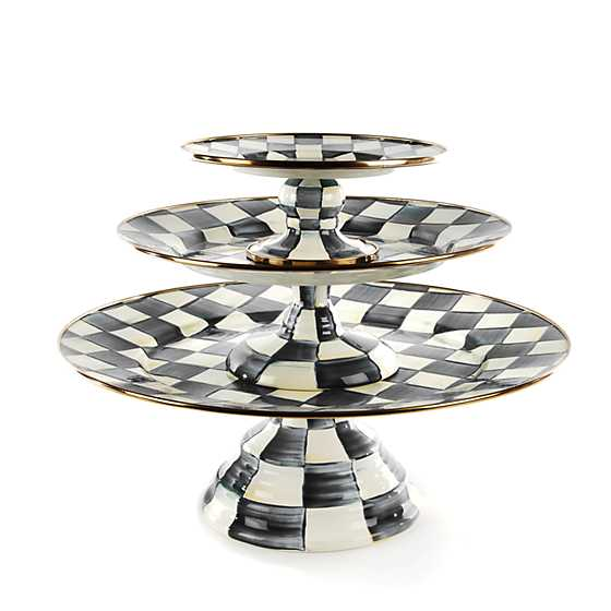 Courtly Check Enamel Pedestal Platter - Mini image three
