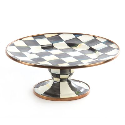 Image for Courtly Check Enamel Pedestal Platter - Mini