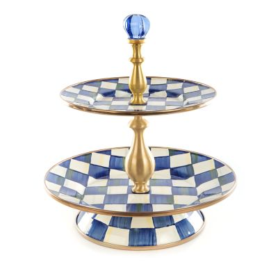 Image for Royal Check Enamel Two Tier Sweet Stand