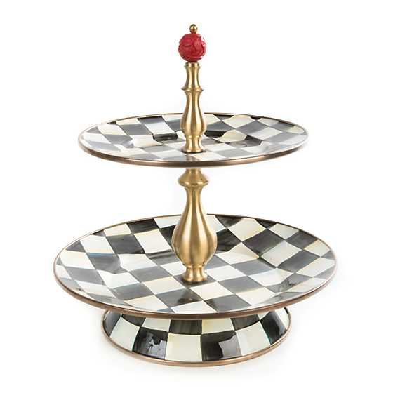 Courtly Check Enamel Two Tier Sweet Stand