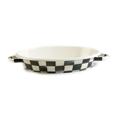 Courtly Check Enamel Oval Gratin Dish - Medium