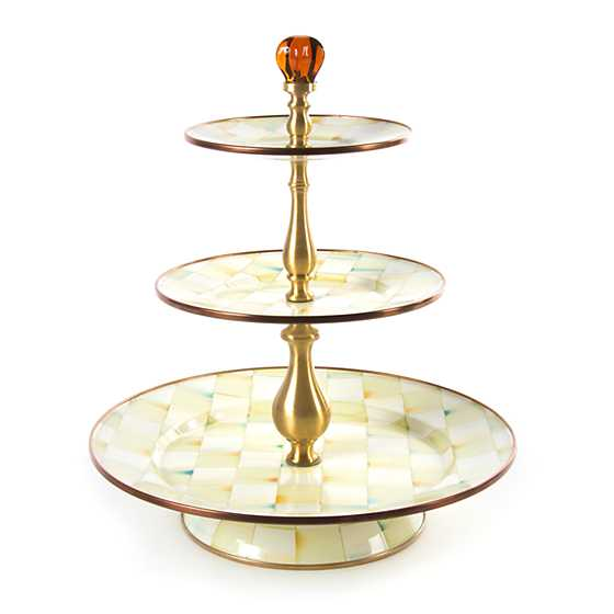 Parchment Check Enamel Three Tier Sweet Stand