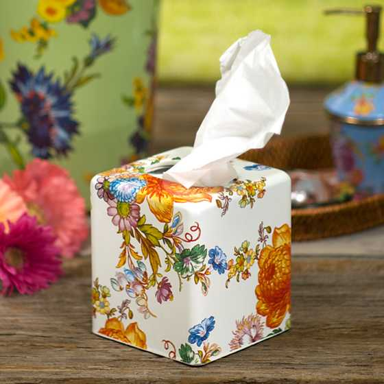 Flower Market Boutique Tissue Box Cover - White image two