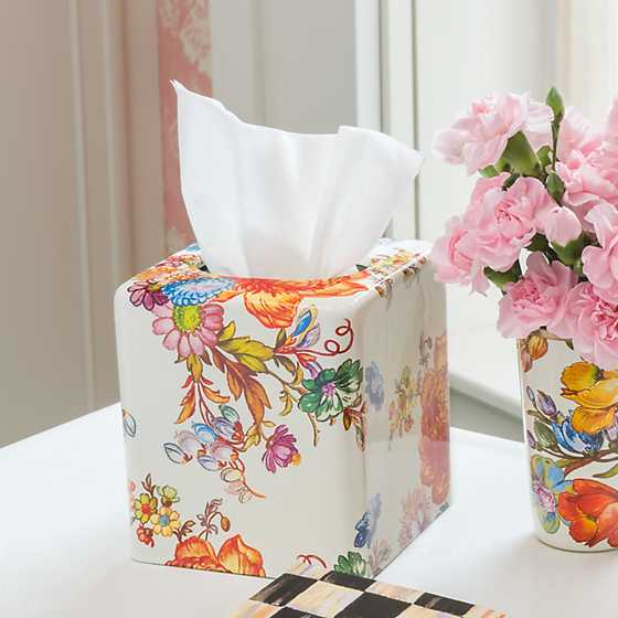 Flower Market Boutique Tissue Box Cover - White image three