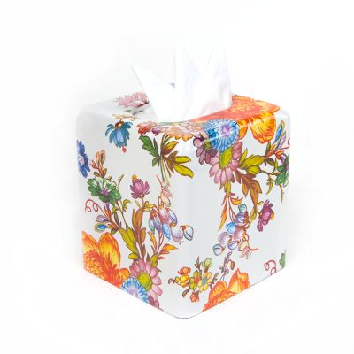 Flower Market Boutique Tissue Box Cover - White