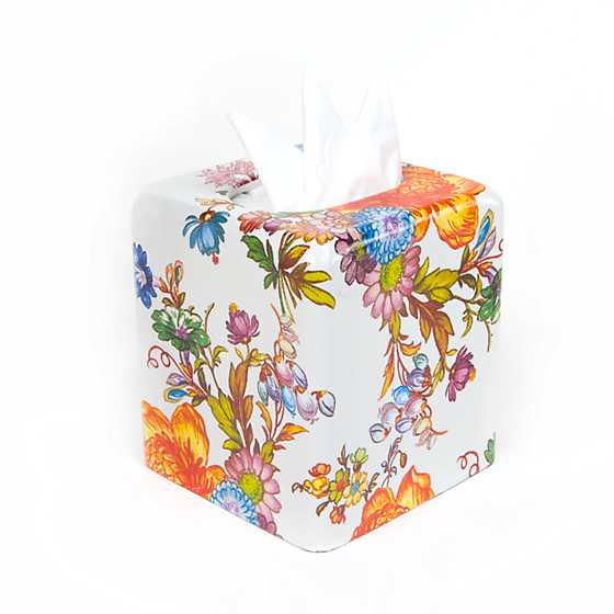 Flower Market Boutique Tissue Box Cover - White image one