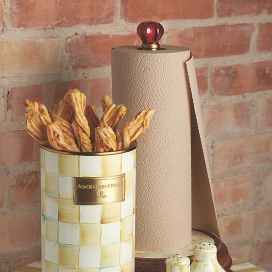 Parchment Check Enamel Utensil Holder image four