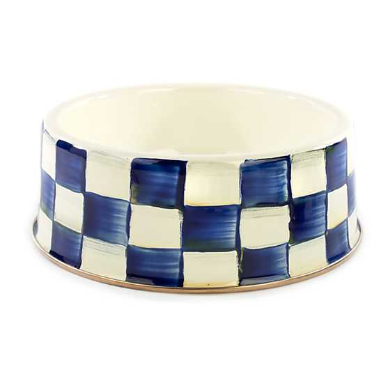 Royal Check Enamel Pet Dish - Large
