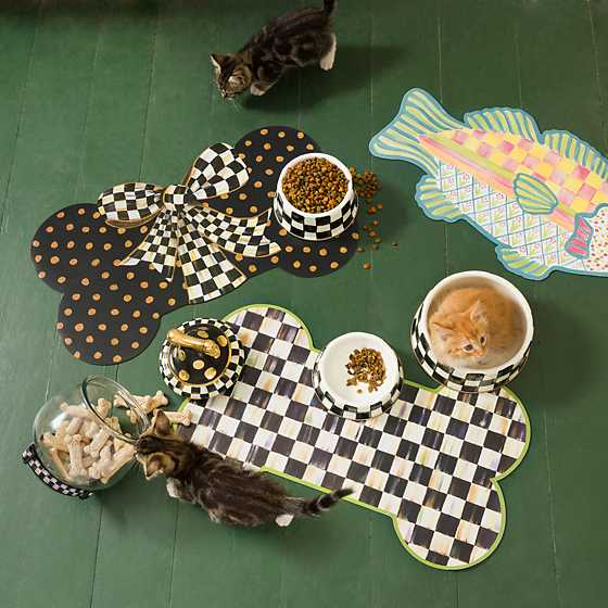 Courtly Check Enamel Cat Dish image two