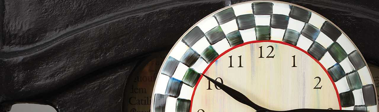 Courtly Check Enamel Clock Banner Image