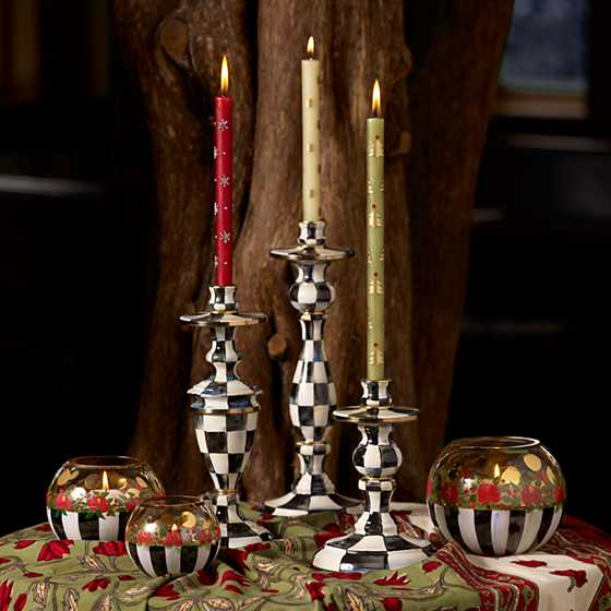 Courtly Check Enamel Candlestick - Small