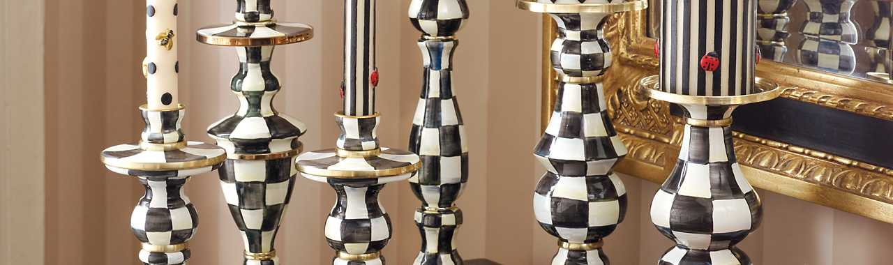 Courtly Check Enamel Pillar Candlestick - Large Banner Image