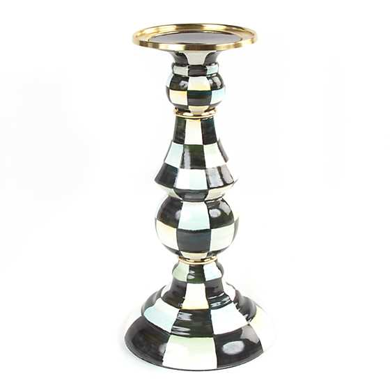 Courtly Check Enamel Pillar Candlestick - Large image one