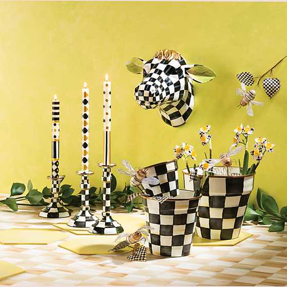 Courtly Check Enamel Candlestick - Modest