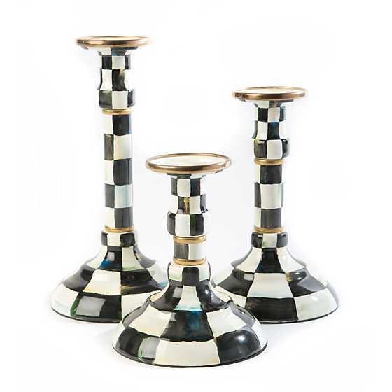 Courtly Check Enamel Candlestick - Modest image three