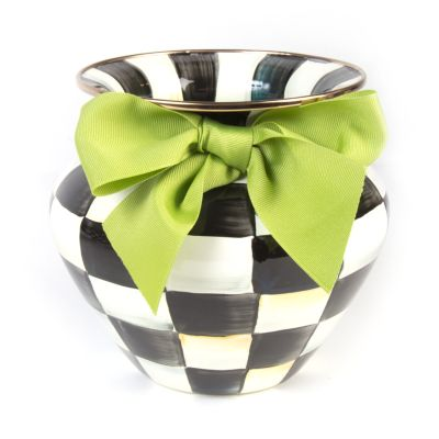 Image for Courtly Check Enamel Vase - Green Bow