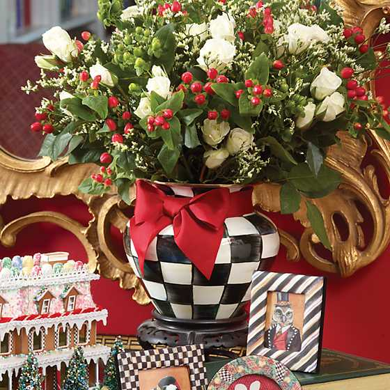 Courtly Check Enamel Large Vase - Red Bow image two