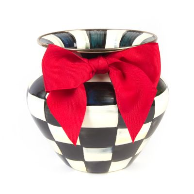 Image for Courtly Check Enamel Large Vase - Red Bow