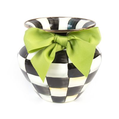 Image for Courtly Check Enamel Large Vase - Green Bow
