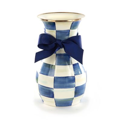 Royal Check Enamel Vase - Tall