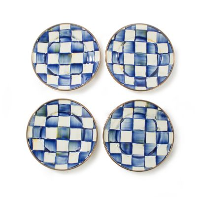 Royal Check Enamel Canape Plates - Set of 4