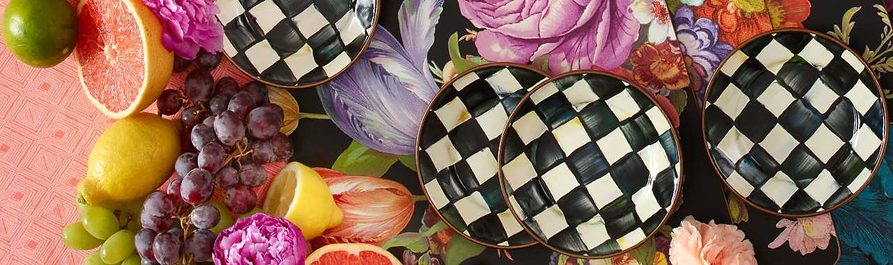 Courtly Check Enamel Canape Plates - Set of 4 Banner Image