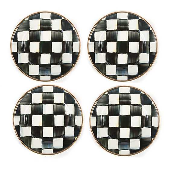 Courtly Check Enamel Canape Plates - Set of 4
