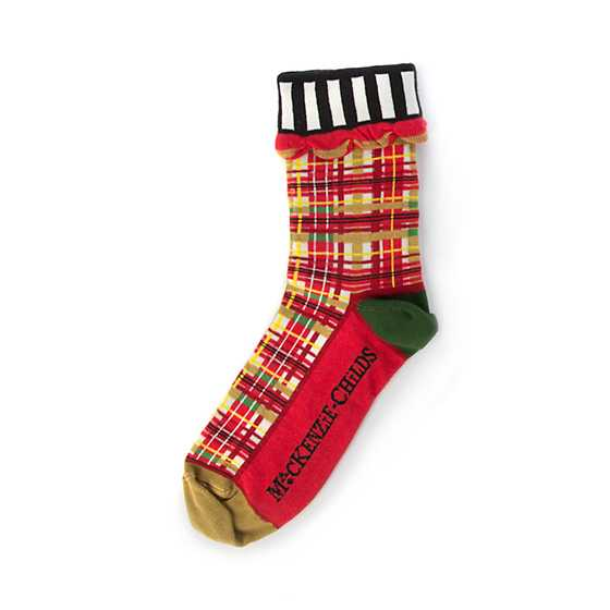 Red Tartan Ankle Socks image two
