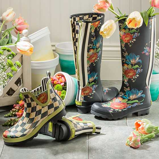 Courtly Check Rain Boots - Short - Size 6 image two