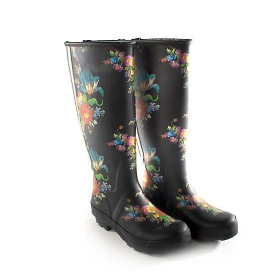 Flower Market Rain Boots - Tall - Size 6 image one