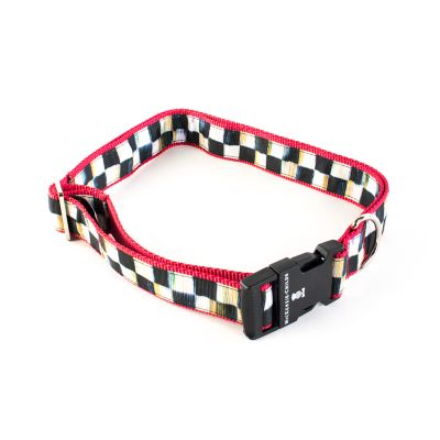 Courtly Check Couture Pet Collar - Red - Extra Large
