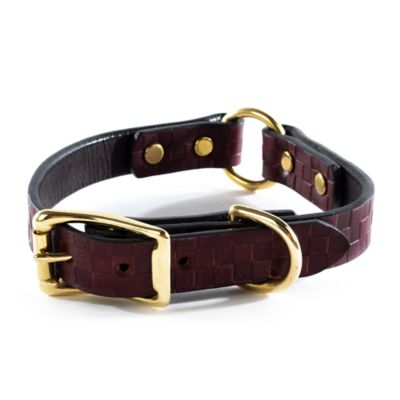 Image for Embossed Leather Pet Collar - Chestnut - Small