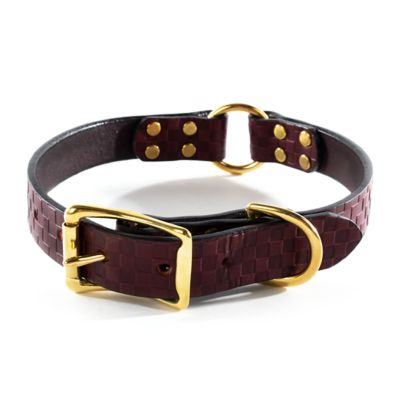 Embossed Leather Pet Collar - Chestnut - Medium