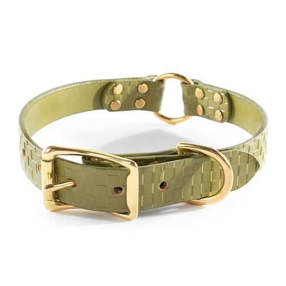 Embossed Leather Pet Collar - Green - Medium