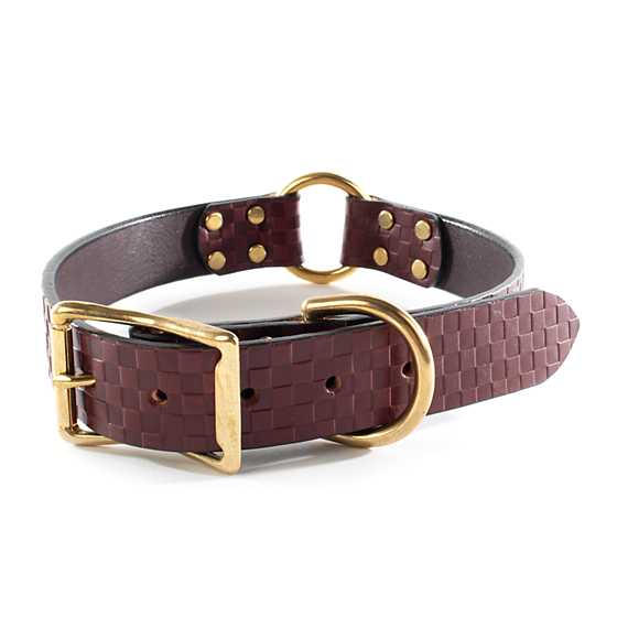 Embossed Leather Pet Collar - Chestnut - Large
