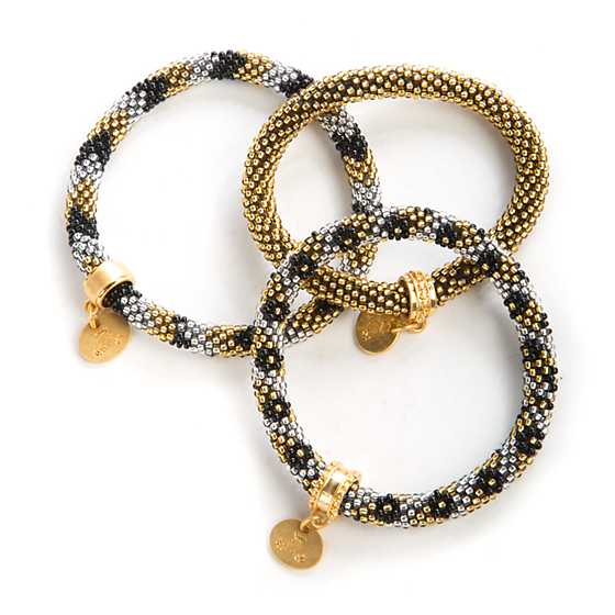 Mackenzie Childs Gold Silver Little Beaded Bracelets Set Of 3